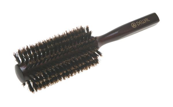 Расческа Dewal Деревянная с натуральной щетиной темная d=22/54 мм