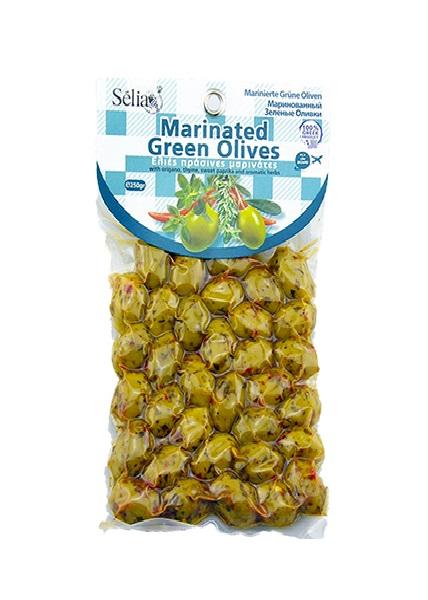 Оливки Халкидики маринованные с орегано, темьяном и сладким перцем, Siouras, 250 гр