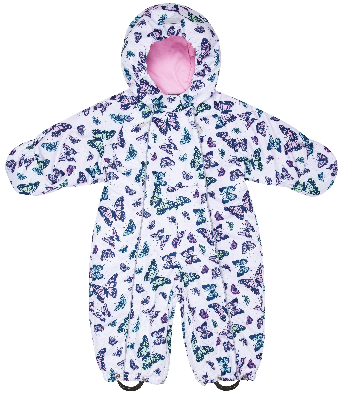 Купить Комбинезон-трансформер утепленный для девочки Barkito белый с рисунком бабочки р.74, Детские комбинезоны зимние