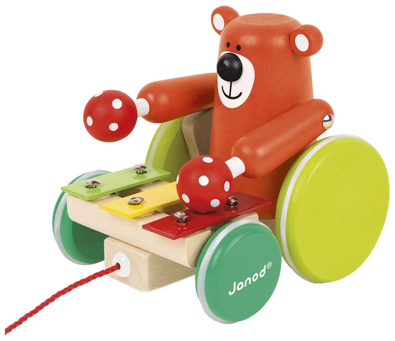 Деревянная игрушка Janod Каталка на веревочке Медвежонок-музыкант фото
