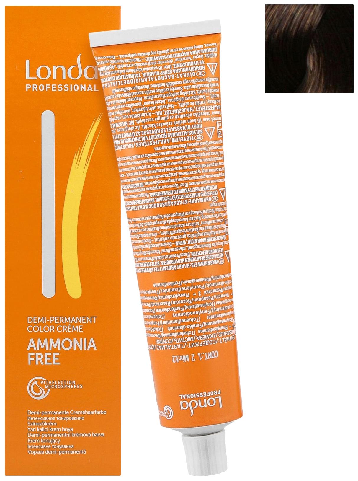 Крем-краска для волос Londa Ammonia Free 6/37 Темный Блонд Золотисто-Коричневый 60 мл