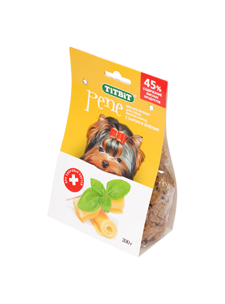 Лакомство для собак TiTBiT, печенье PENE с сыром и зеленью, 200г фото