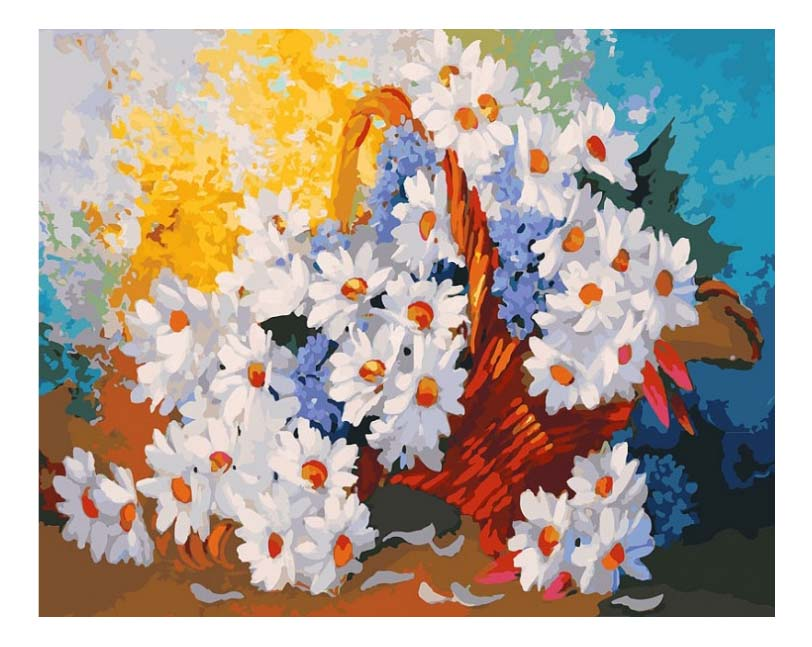 Раскраска по номерам Белоснежка Корзинка с ромашками фото