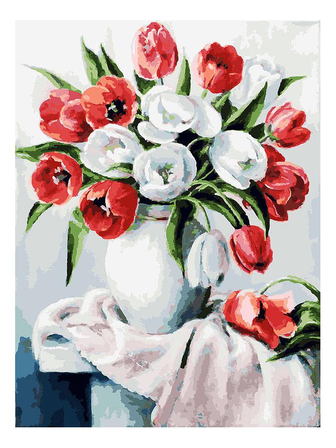 Раскраска по номерам Белоснежка Красные и белые