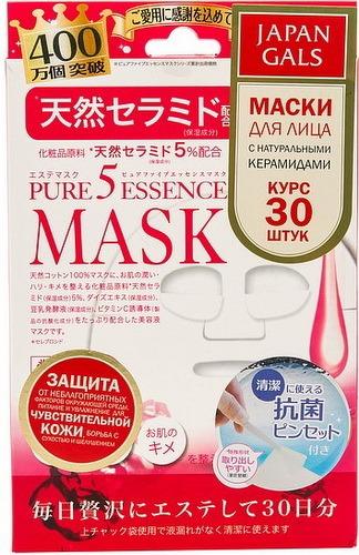 Маска для лица JAPAN GALS Pure 5 Essential с натуральными керамидами, 30 шт.
