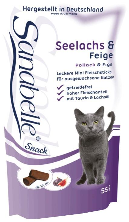 Лакомство для кошек Sanabelle кусочки, с сайдой