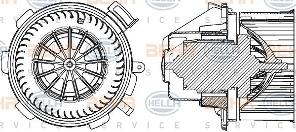 Двигатель моторчика печки Hella 8EW 351