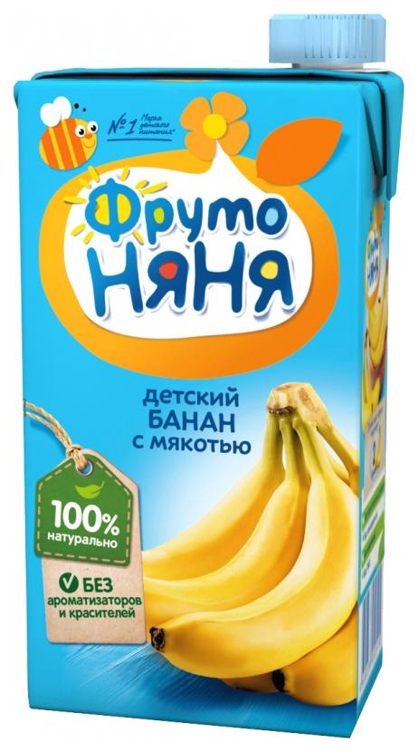 Купить Банан с мякотью 500 мл, Нектар ФрутоНяня Банан с мякотью с 3 лет 500 мл, Нектары для детей