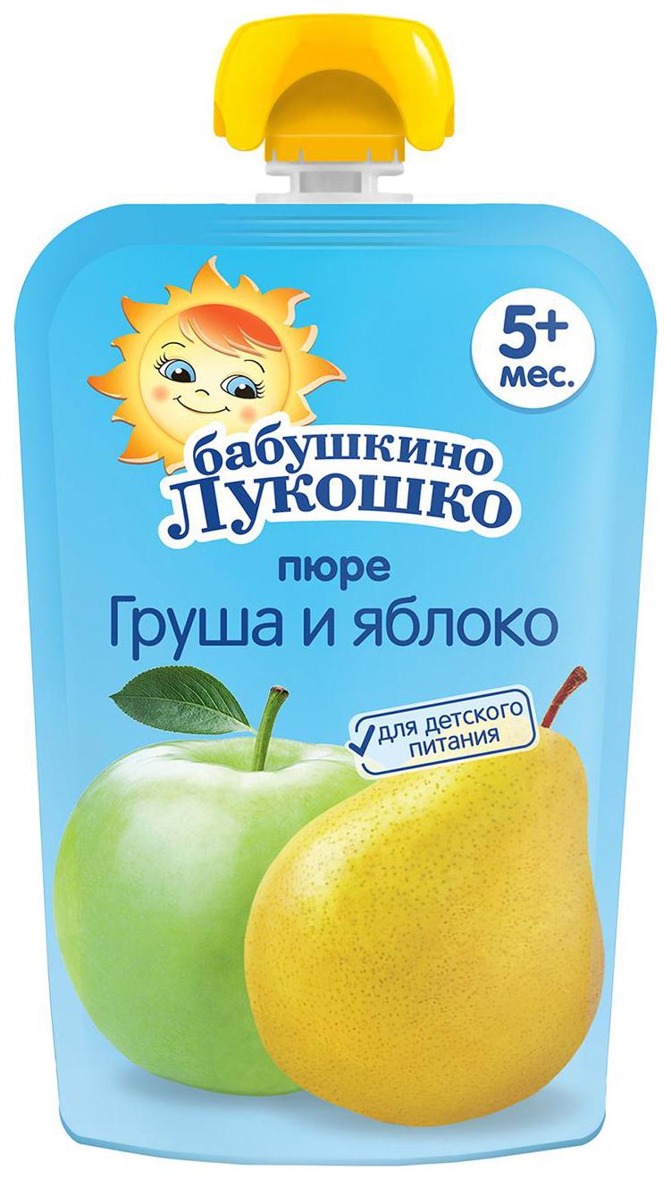 Купить Груша-яблоко 90 г, Пюре фруктовое Бабушкино Лукошко Груша-яблоко с 5 мес 90 г, Фруктовое пюре