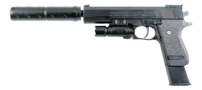 Механический пистолет с фонарем и глушителем Shantou Gepai ES2089-K2011-B и