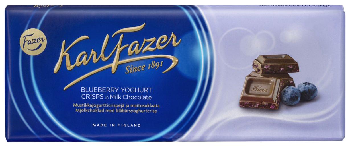 Шоколад темный Fazer Karl с криспами черничного йогурта 190 г