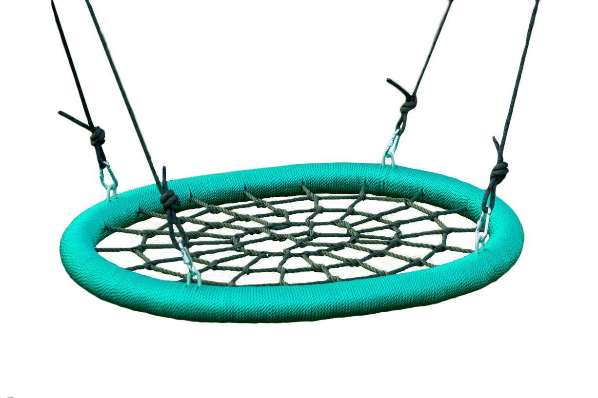 Подвесные садовые качели для дачи Облачный замок Качели гнездо 85х110 см Зеленый