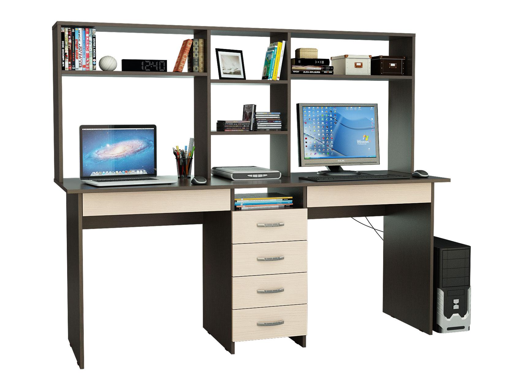 Компьютерный стол МФ Мастер Тандем-2Я 174,8x60x141,8, венге/дуб молочный