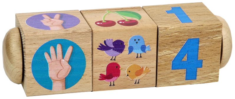 Купить Развивающая игрушка Десятое Королевство Кубики деревянные на оси Счет 3 кубика, Развивающие кубики