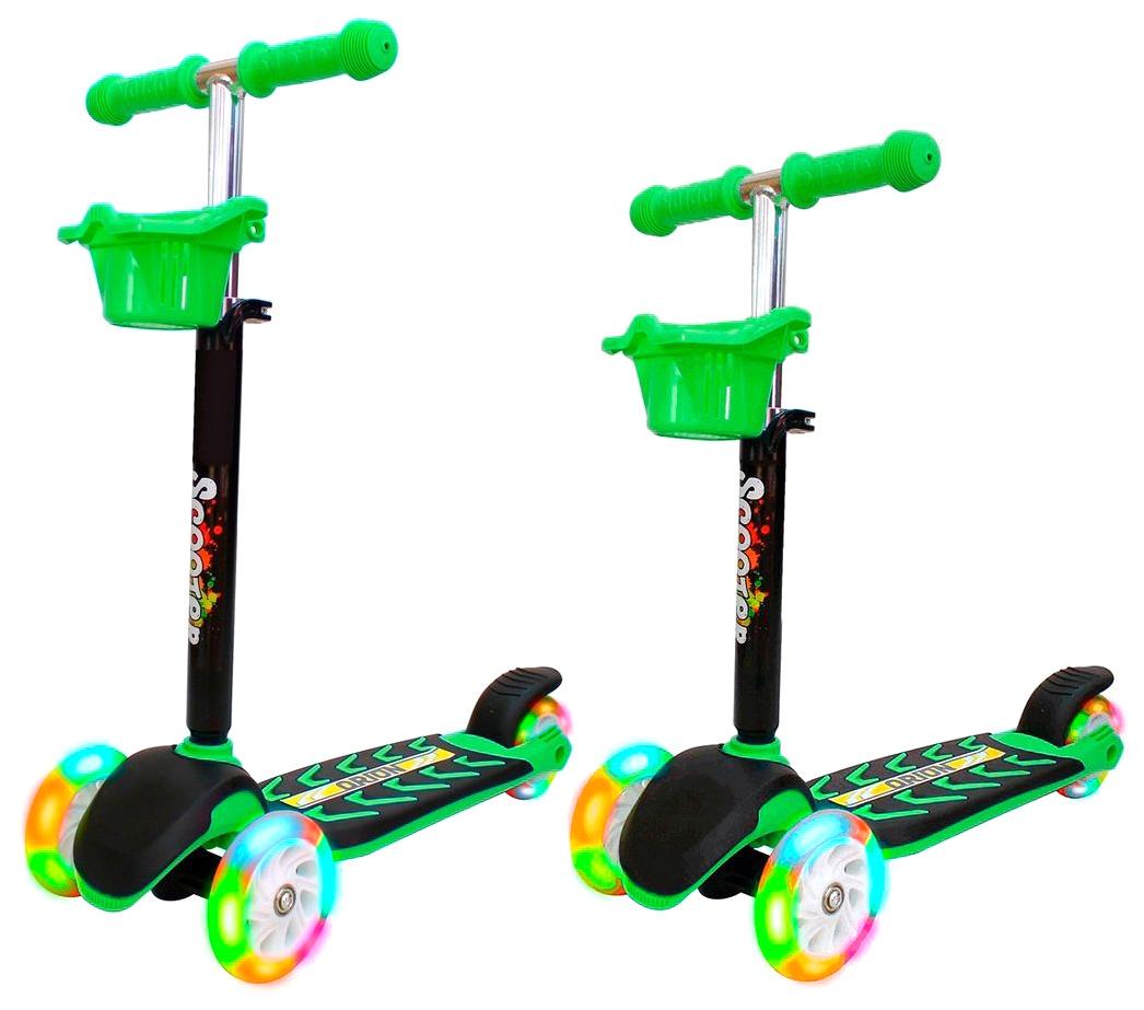 Купить Самокат RT MIDI ORION со светящимися колесами зелёный, R-TOYS, Самокаты детские трехколесные