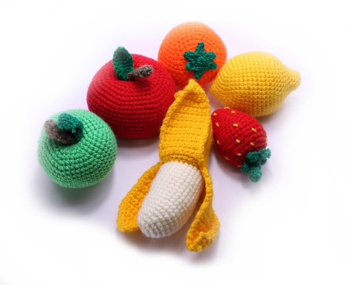 Вязаные фрукты Sprinter яблоко, клубника, банан, лимон,