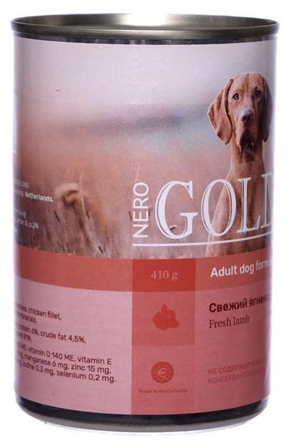 Консервы для собак NERO GOLD, свежий ягненок, 410г