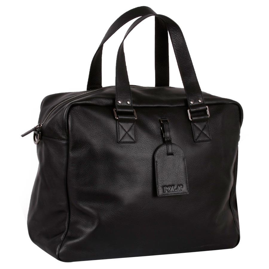 Дорожная сумка кожаная Polar 5139 черная 42 x 35 x 17 фото