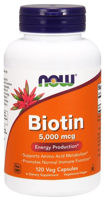 Купить Витамин B NOW Biotin 5000 мкг 120 капс.