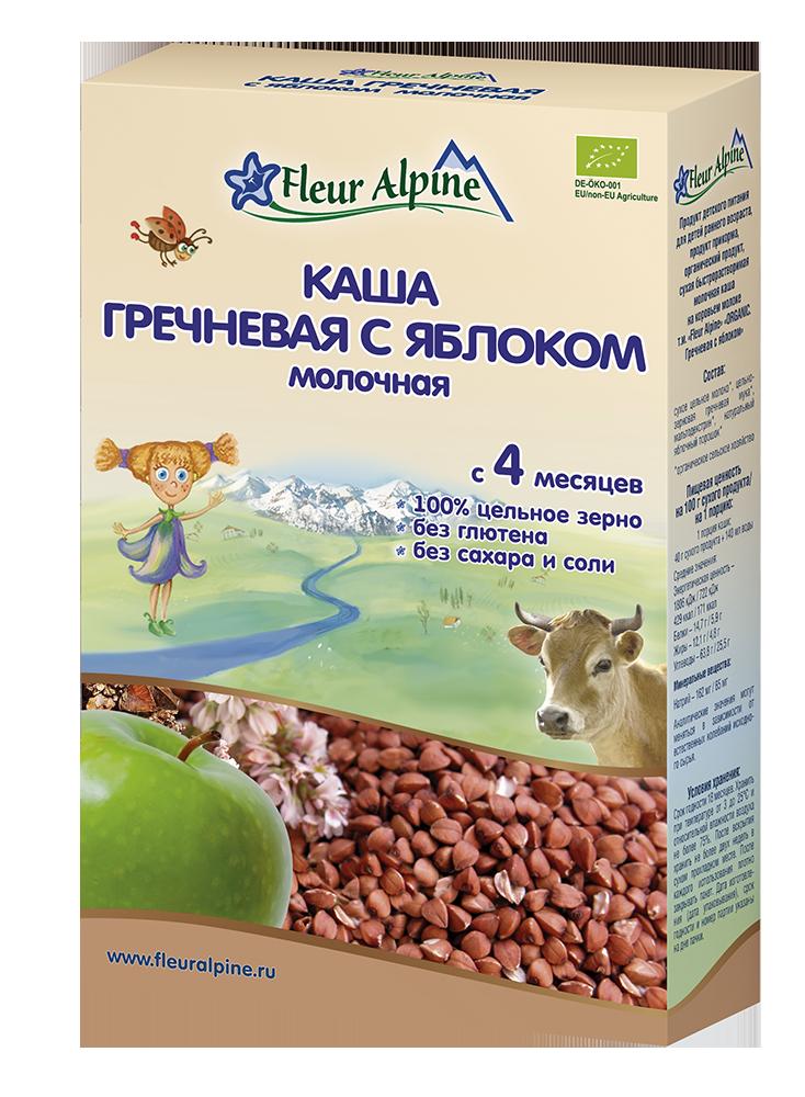 Каша молочная Fleur Alpine Органик гречневая с яблоком, 4 мес., 200/6