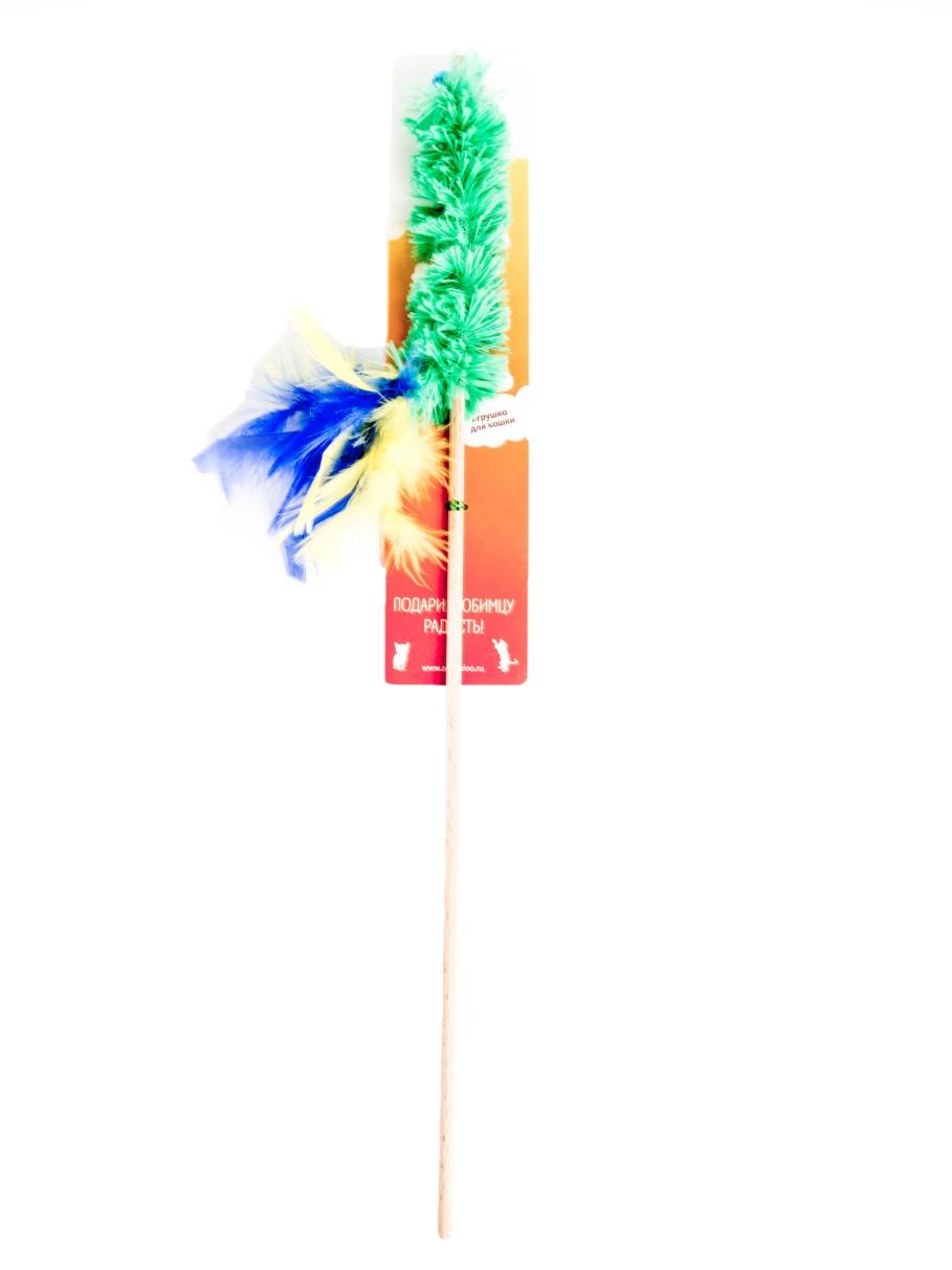 Игрушка для кошек Zoobaloo Дразнилка, удочка, меховой хвост с пером, 60 см