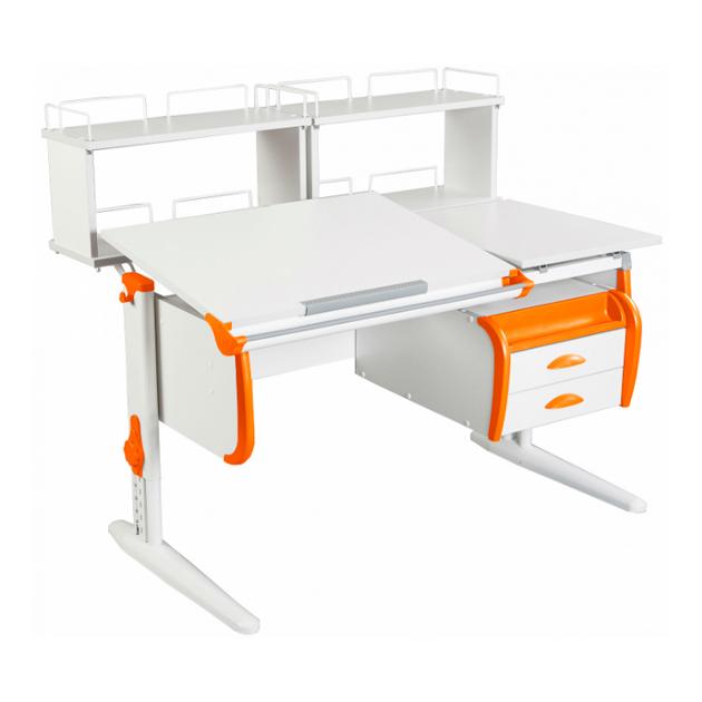 Парта Дэми СУТ-25-05 WHITE DOUBLE со столешницей и приставками белый, оранжевый, белый