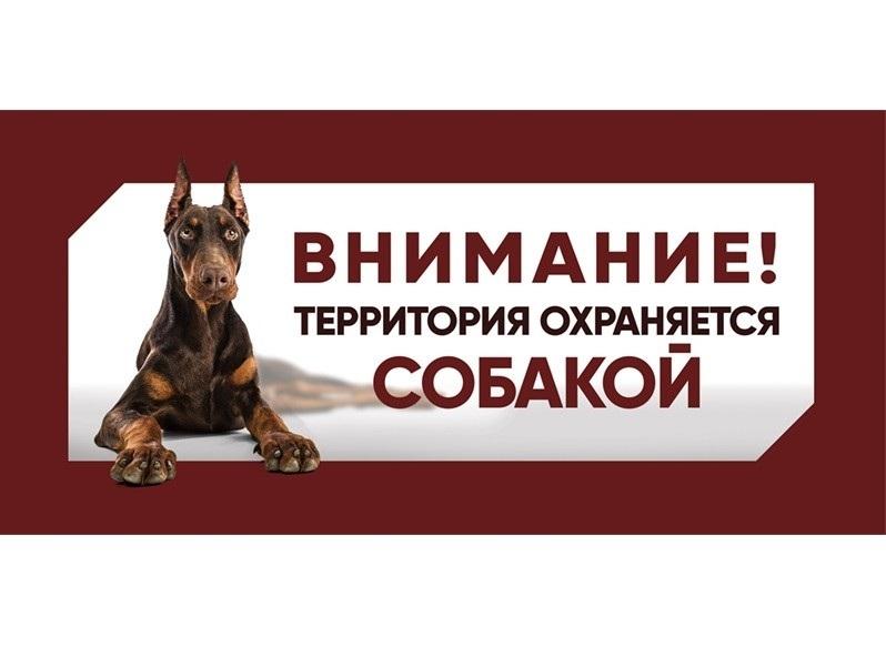 Табличка Gamma Охраняется собакой, Доберман, 25
