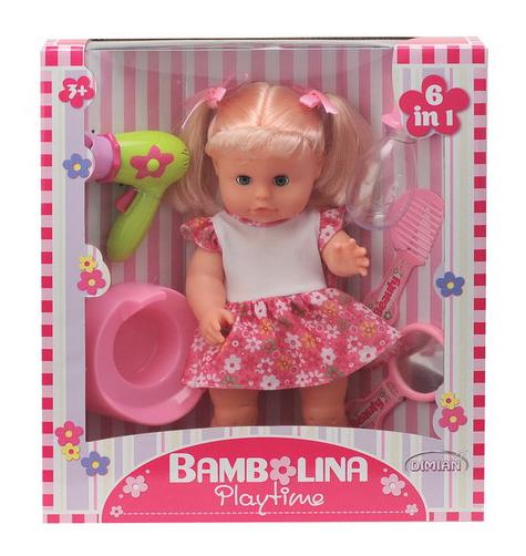 Кукла Dimian Bambolina с горшочком, бутылочкой и аксессуарами, 33 см фото