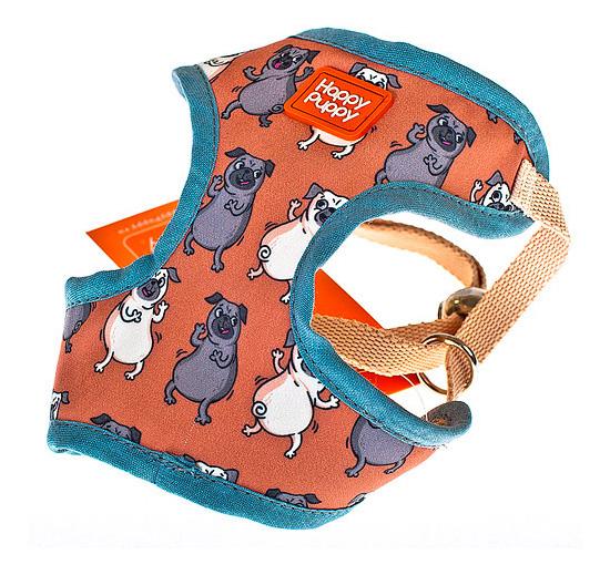 Шлейка для собак Happy Puppy Мопсики Унисекс Размер 3.