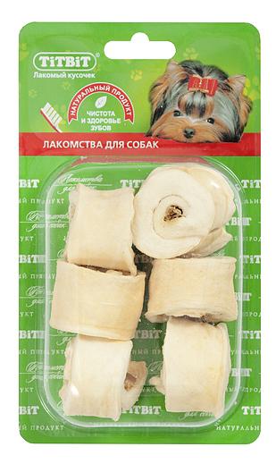 Лакомство для собак TiTBiT, роллы из кожи с начинкой Б2-XL, говядина, 47г фото