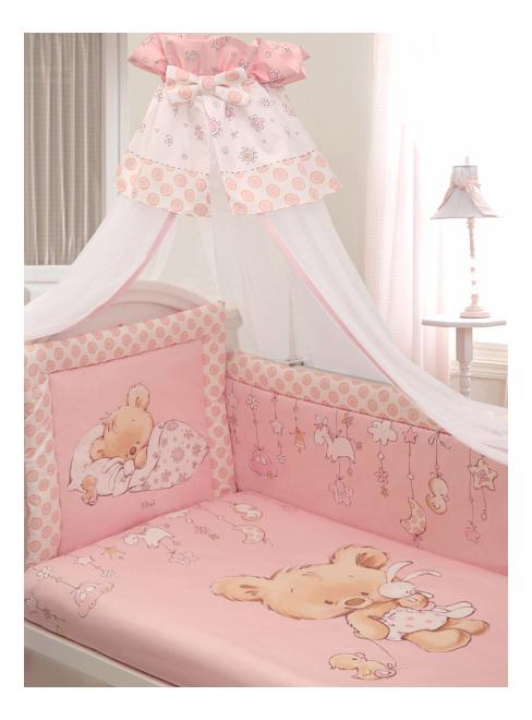 Купить Комплект в кроватку Золотой гусь Mika сатин 7 предметов розовый, Золотой Гусь, Комплекты детского постельного белья