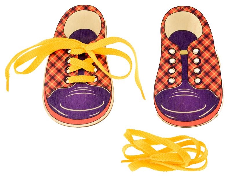 Развивающая игрушка Русские деревянные игрушки Шнуровка Ботинки Шотландка Д427а фото