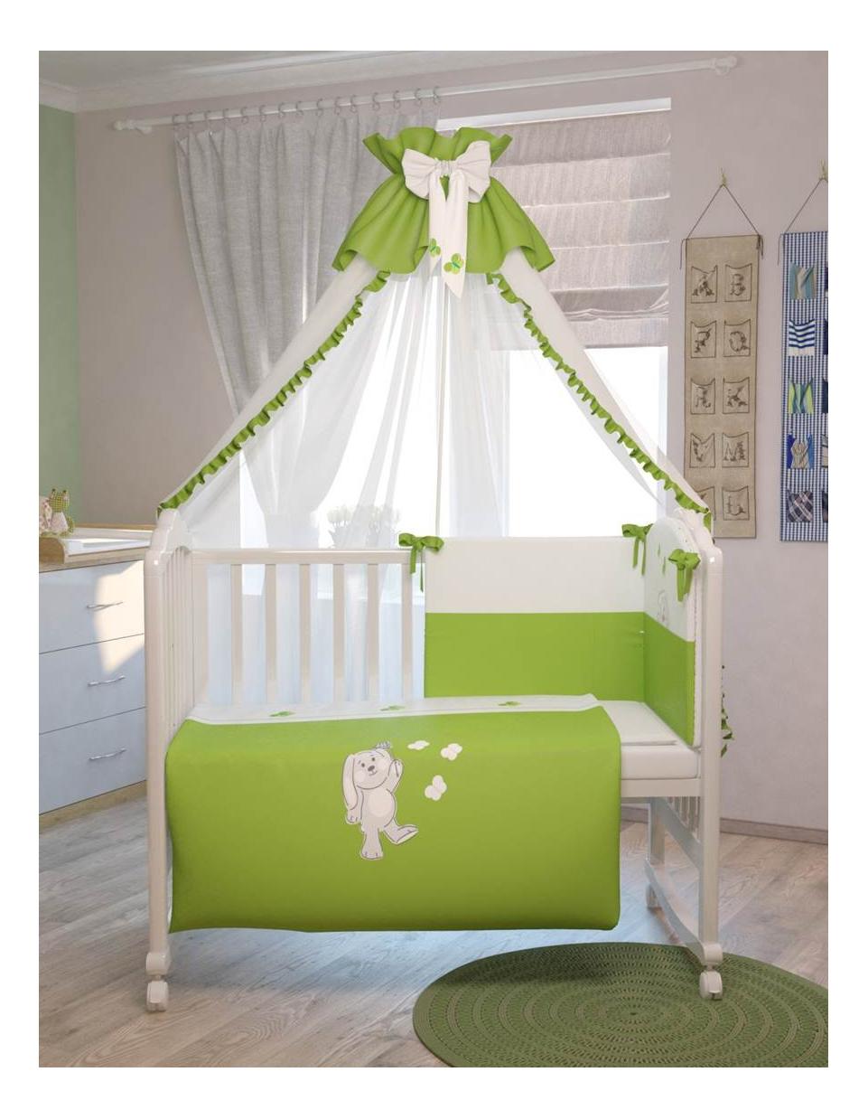 Комплект детского постельного белья Polini Зайки 120 х 60 зеленый Polini Зайки 120x60, зеленый