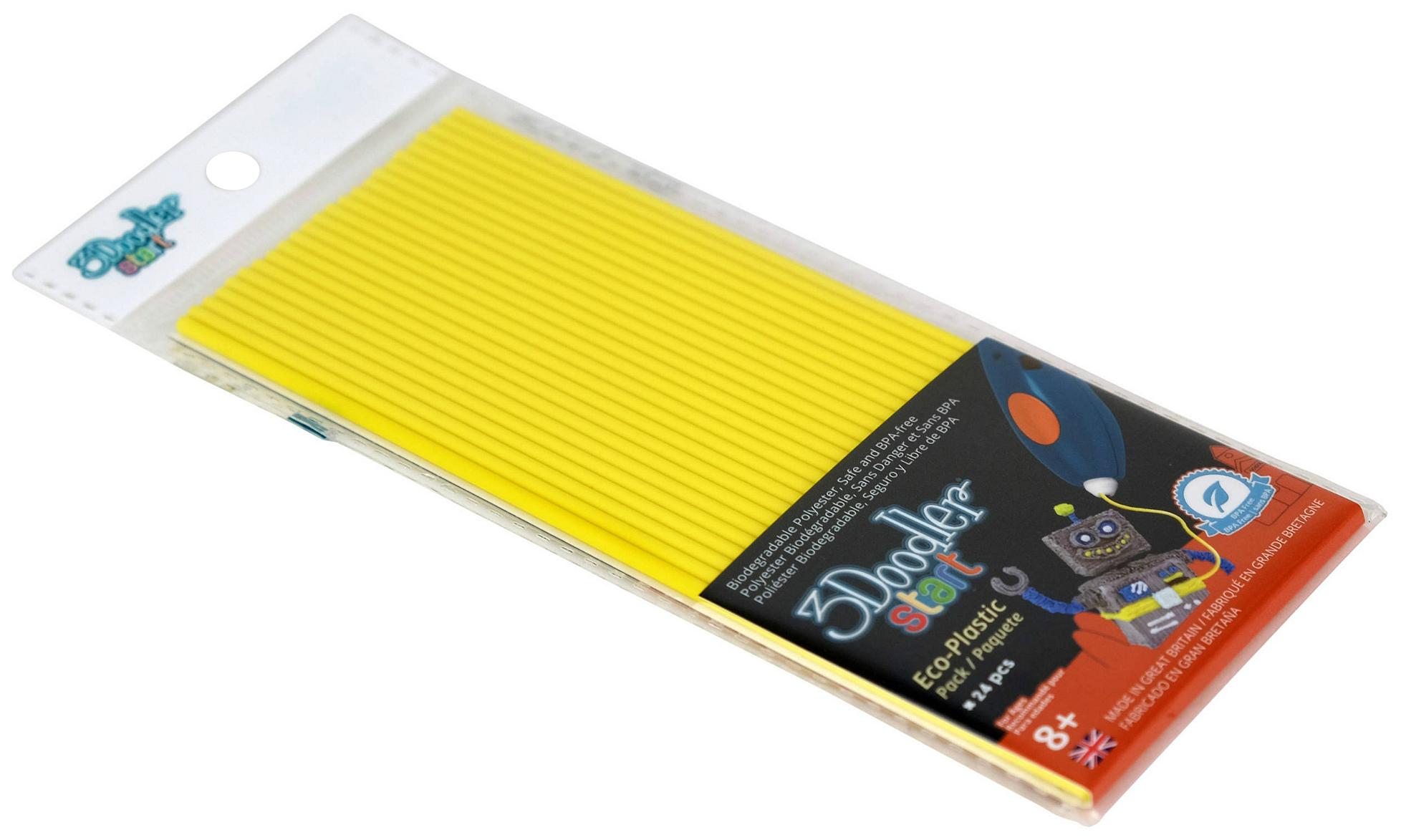 Купить Эко-пластик к 3Д ручке 3Doodler Start, цвет желтый 24 шт, Wobble Works, 3D ручки