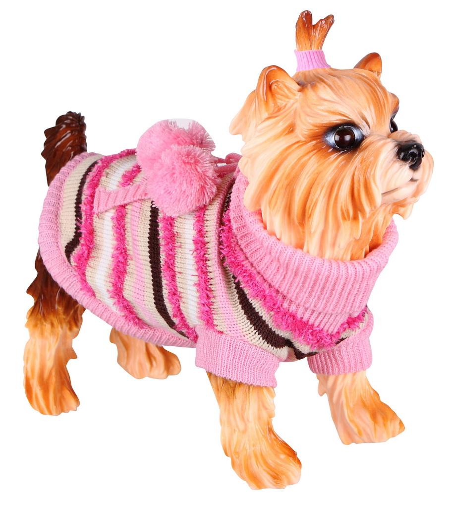 Свитер для собак DEZZIE размер XS унисекс, розовый, бежевый, длина спины 20 см фото