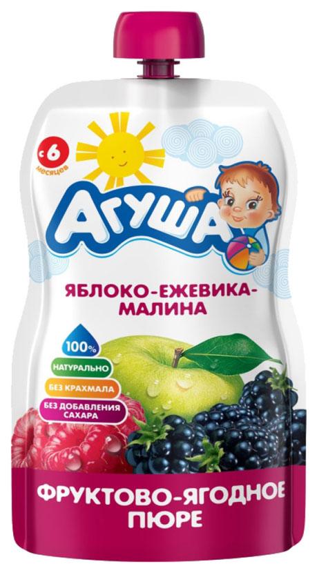 Купить Яблоко, ежевика, малина 90 г, Пюре фруктовое Агуша Яблоко, малина с 6 мес 90 г, Детское пюре