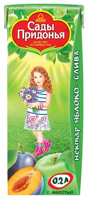 Купить Нектар Сады Придонья Яблоко-слива с мякотью с 5 мес 200 мл, Детские напитки