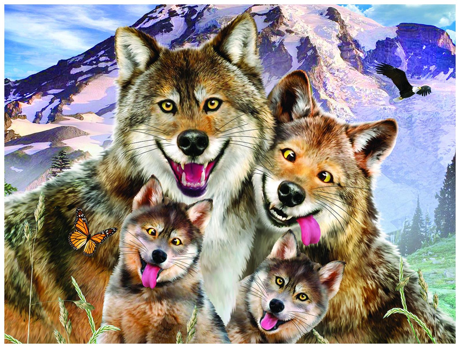 Пазл 3D 100 Волки селфи
