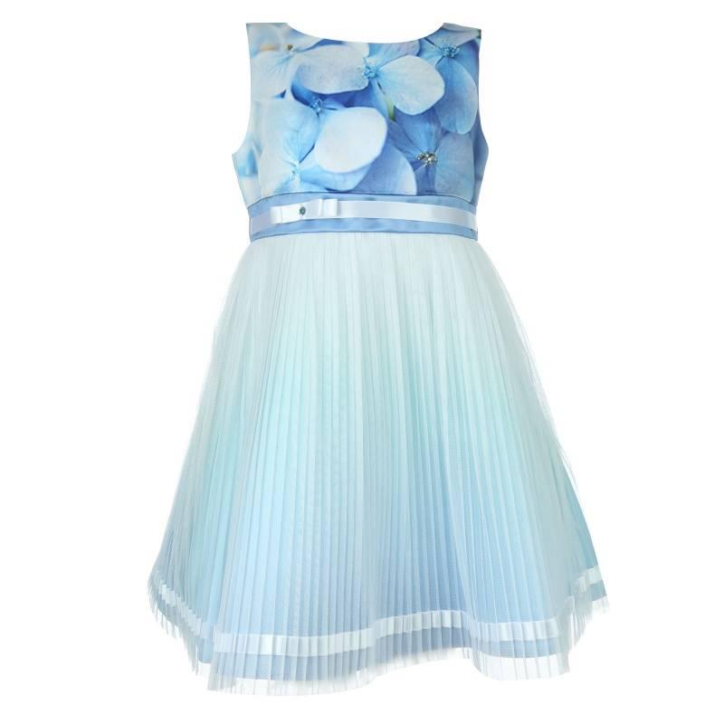 Купить 1552, Платье Сорренто UNONA D'ART, цв. голубой, 146 р-р, Платья для девочек