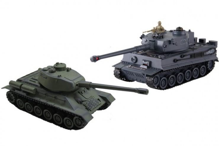 Радиоуправляемый танковый бой T34 Tiger масштаб 1:28 ZEGAN 99824