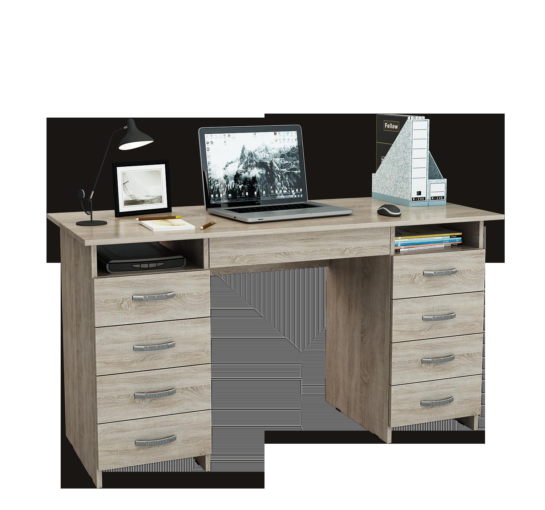 Компьютерный стол МФ Мастер Милан-10Я 143,6x60x75, дуб сонома
