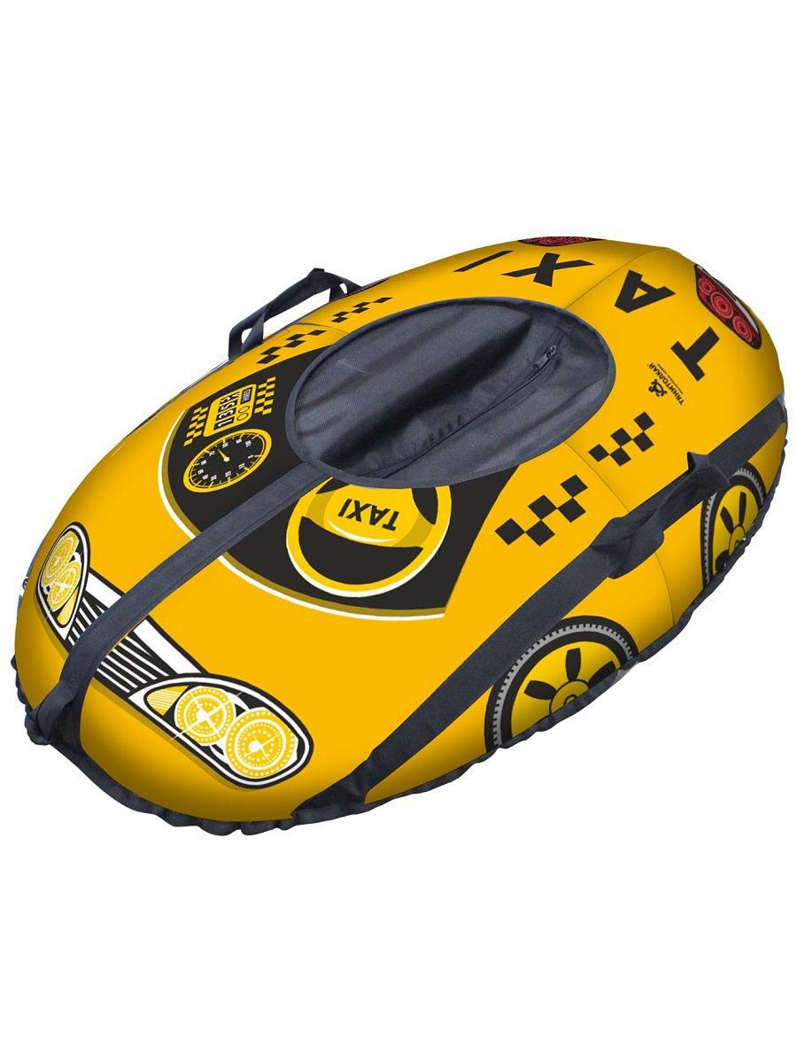Санки надувные Тяни-толкай Машинка желтая 70х110 см фото