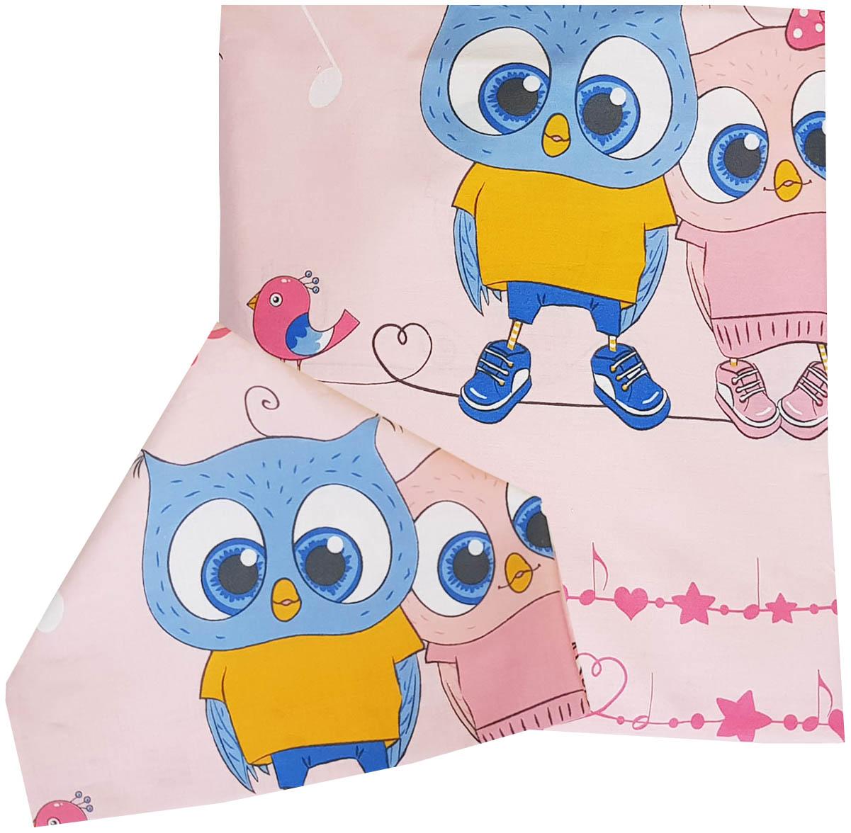Комплект постельного белья детский Папитто Совята розовый 147x112 см, простыня на резинке