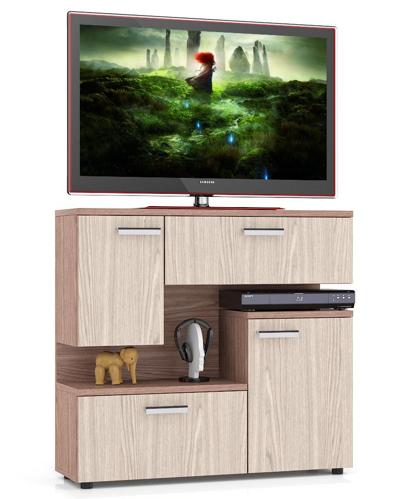 Тумба под телевизор приставная Мебельный Двор С1-1400 100х30х93 см, ясень шимо тёмный