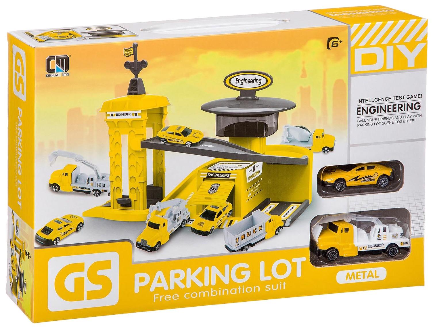 Купить Набор строительная парковка, 2 шт. мет. машины, ВОХ 39, 7х8х26, 5 см, 4 вида, Shenzhen Toys, Детские парковки