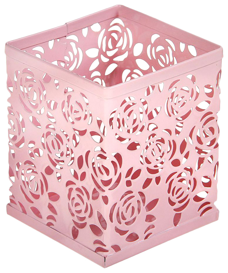 Стакан для пишущих принадлежностей, квадратный, узор, металлический, розовый Calligrata