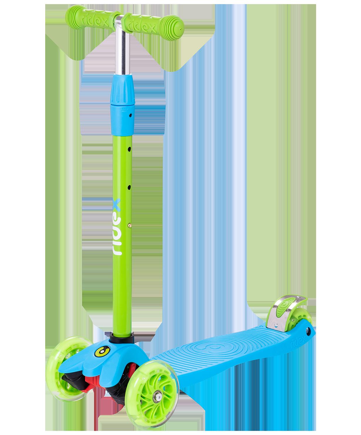 Купить Трёхколёсный самокат Ridex Snappy 2.0 3D детский голубой/зеленый со светящимися колёсами, Самокаты детские трехколесные