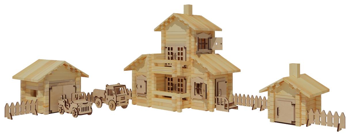 Купить Деревянный конструктор Лесовичок Новый Домик №6 380 элементов les 032, Деревянные конструкторы