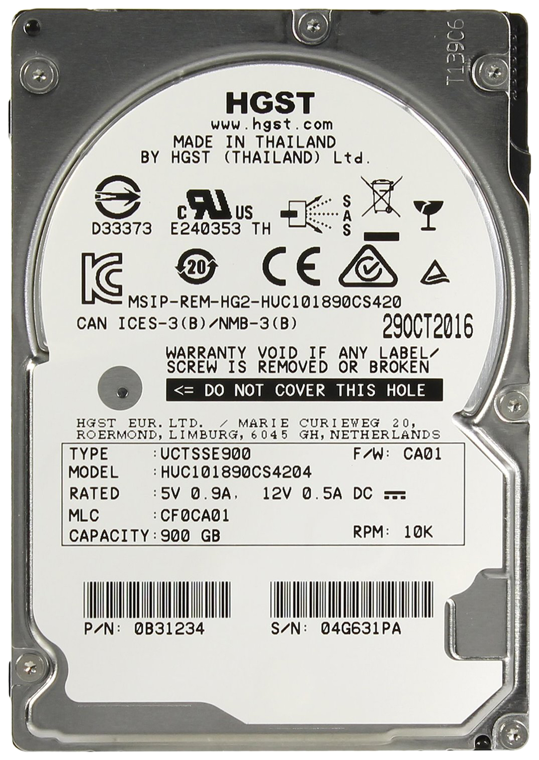 Внутренний жесткий диск HGST Ultrastar C10K1800 900GB