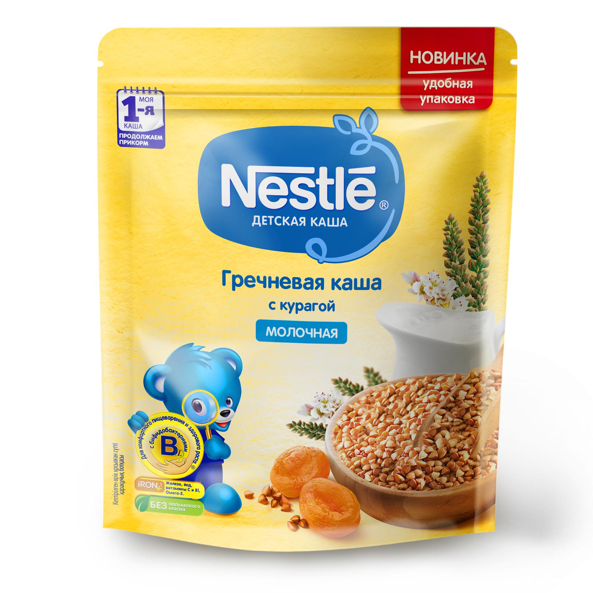 Купить Молочная гречневая каша Nestle с курагой Моя первая каша Продолжаем прикорм 220г, Детские каши